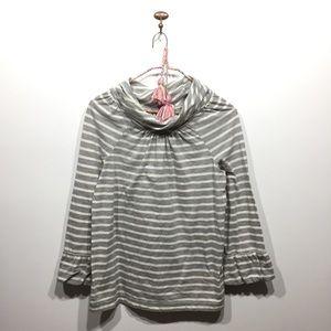 Madewell Hi Line gray white stripe shirt ruffle M